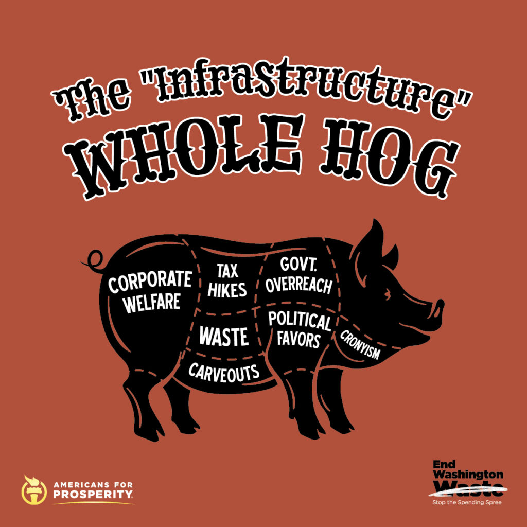 """The """"Infrastructure"""" Whole Hog sign detailing all the pork in the president's so-called infrastructure plan"""