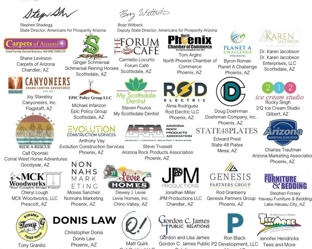 Signers of a coalition letter to lawmakers urging them to pass tax reform. Signers include Stephen Shaddegg and Boaz Witbeck of AFP-Arizona and Shane Levinson, founder of Carpets of Arizona.
