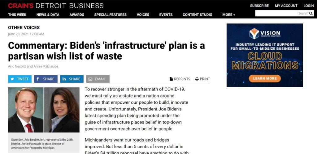 Screenshot of Aric Nesbitt's and Annie Patnaude' s infrastructure and wasteful spending op-ed.