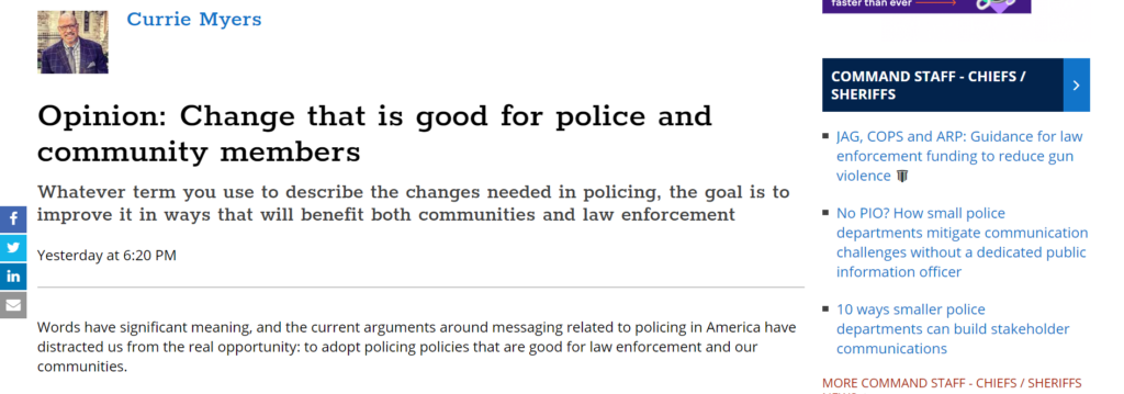 Currie Myers' policing reform oped