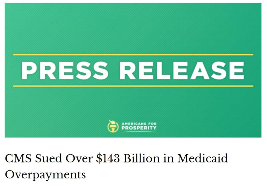 CMS sued over $143 billion in Medicaid overpayments