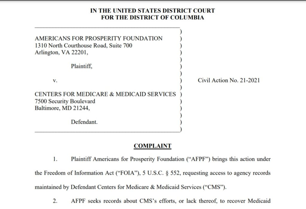 Full complaint of Americans for Prosperity Foundation v. Centers for Medicare & Medicaid Services