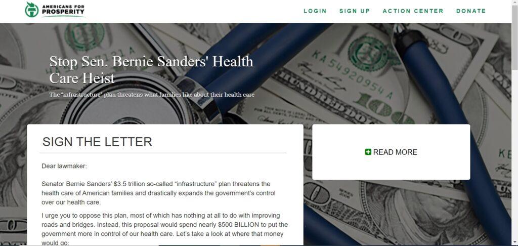 Click here to stop Sen. Bernie Sanders' health care heist.