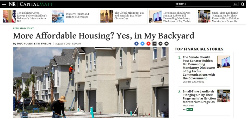Screenshot of Tim Phillips and Todd Young's National Review Capital Matters op-ed on affordable housing