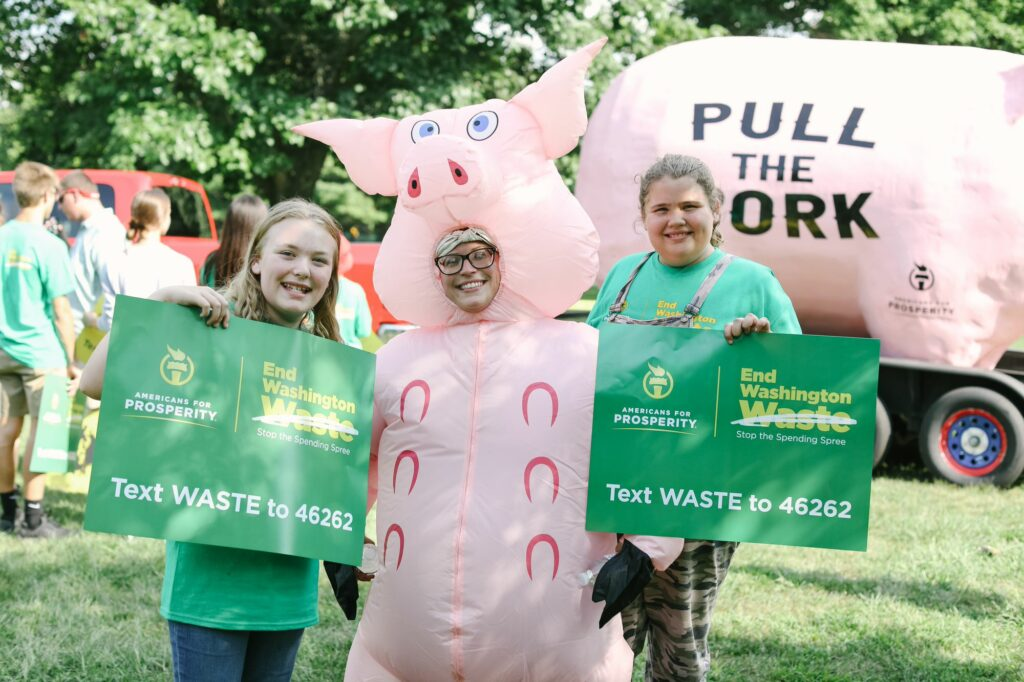 AFP-Indiana activists at an End Washington Waste event, where they called on Congress to pull the pork and stop wasteful spending.