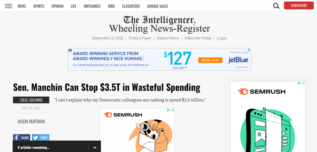 Sen. Manchin can stop $2.5 trillion in wasteful spending op-ed