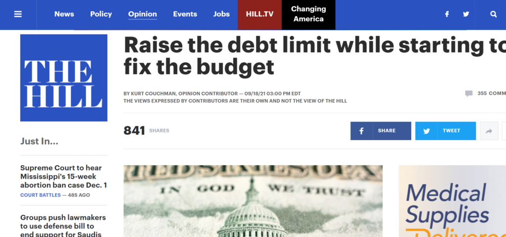 Click here to read Kurt Couchman's op-ed on raising the debt limit while starting to fix the budget.